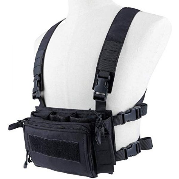 Tactical Area Airsoft Tactical Vest 6 Tactical Chest Rack, Airsoft Assault Box rig Military Vest, with Molle Flatpack Backpack