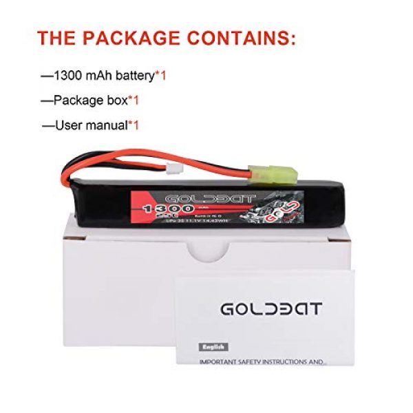 GOLDBAT Airsoft Battery 6 GOLDBAT 1300mAh 3S 11.1V 25C LiPo Battery Short Stick Battery Pack with Mini Tamiya Connector for Airsoft