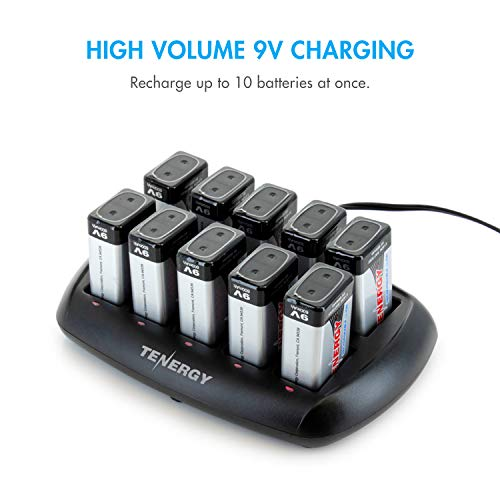 9 Volt Smart Li-ion Charger for Smoke Detector/Alarm Rechargeable Battery (Optional Batteries)