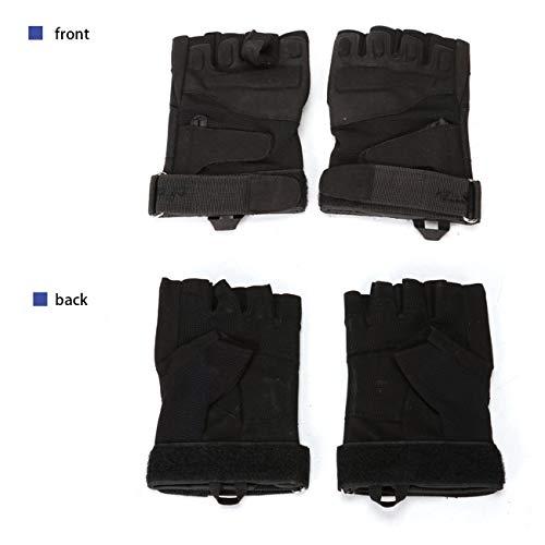 Military Ba Airsoft Glove 6 Military Ba Men's Black Special Ops 1/2 Finger Light Assault Gloves Tactical Fingerless Half Finger Gloves-M Black