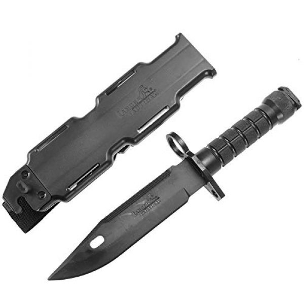 Lancer Tactical Airsoft Barrel 3 Lancer Tactical M9 Santoprene 12 inch Long x 7 inch Rubber Blade Bayonet Lightweight Compact Disarm Trainer Knife Scale Replica ABS Anti-Slip Handle w/Sheath for M4/M16 Series AEG Compatible