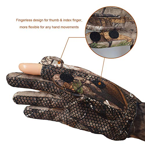 EAmber Airsoft Glove 3 Eamber Camouflage Hunting Gloves Full Finger/Fingerless Gloves Pro Anti-Slip Camo Realtree Glove Archery Accessories Hunting Outdoors (M) (L) (L)