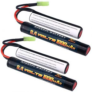 melasta Airsoft Battery 1 Melasta 2Pack 2/3A 8.4v 1600mAh Butterfly Nunchuck NIMH Battery Pack with Mini Tamiya Connector for Airsoft Guns
