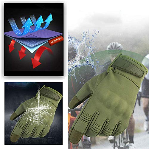 HYCOPROT Airsoft Glove 7 HYCOPROT Outdoor Full Finger Waterproof Windproof Tactical Gloves with Flexible Touch Screen Hard Knuckle Protect for Cycling Motorcycle Climbing Gardening Hunting Gear