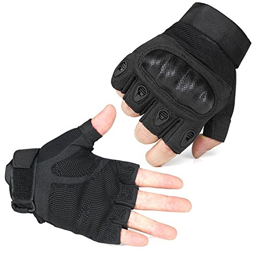 Fantastic Zone Airsoft Glove 1 Ventilate Wear-resistant Tactical Gloves Hard Knuckle and Foam Protection for Shooting Airsoft Hunting Cycling Motorcycle Gloves Men's Outdoor Half finger Full finger Gloves Black M/L/XL