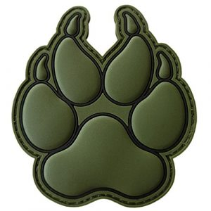 LEGEEON  1 LEGEEON Olive Drab OD K-9 Paw K9 Handler Dogs of War Morale Army Gear PVC Touch Fastener Patch