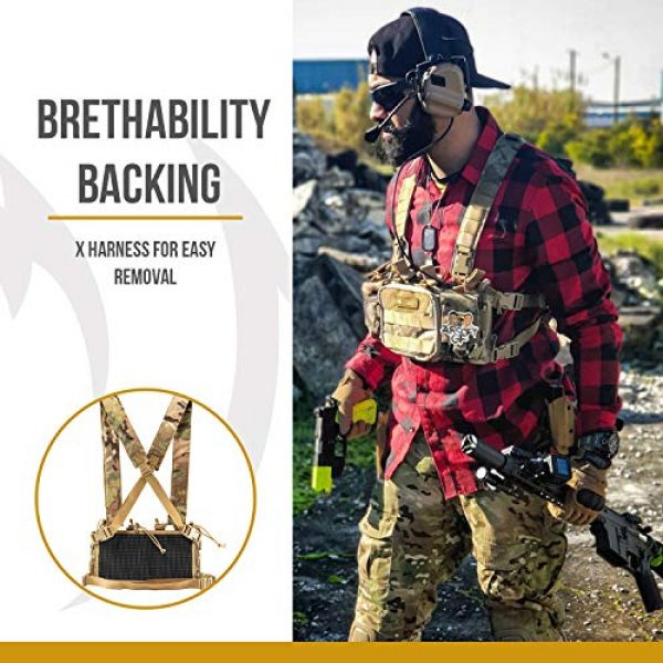 OneTigris Airsoft Tactical Vest 3 OneTigris Tactical Chest Rig with 5.56/7.62 Rifle Mag Pouches Pistol Mag Pouches and X Harness for Airsoft Shooting Wargame Paintball