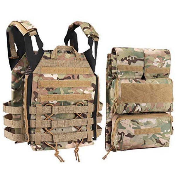 NICEFISH Airsoft Tactical Vest 1 Tactical Vest + Backpack/Modular Vest + Backpack/Breathable Combat Training Vest Adjustable Lightweight
