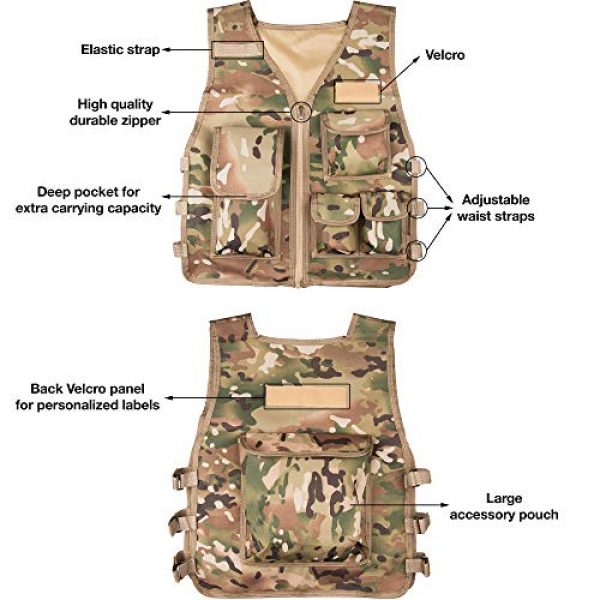 Rein Sport Airsoft Tactical Vest 3 Rein Sport Children's Army All Terrain Tactical Airsoft, Paintball, Combat Vest - Adjustable to Fit Ages 7-13 Yrs. Flexible, Lightweight and Durable for Extreme Play and Adventuring