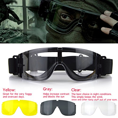 Elemart Airsoft Goggle 3 Elemart Tactical Airsoft Goggles - Safety Goggles Army Goggles Military Eye Protection Hunting Glasses for Shooting - 3 Interchangeable Multi Lens & Carrying Case