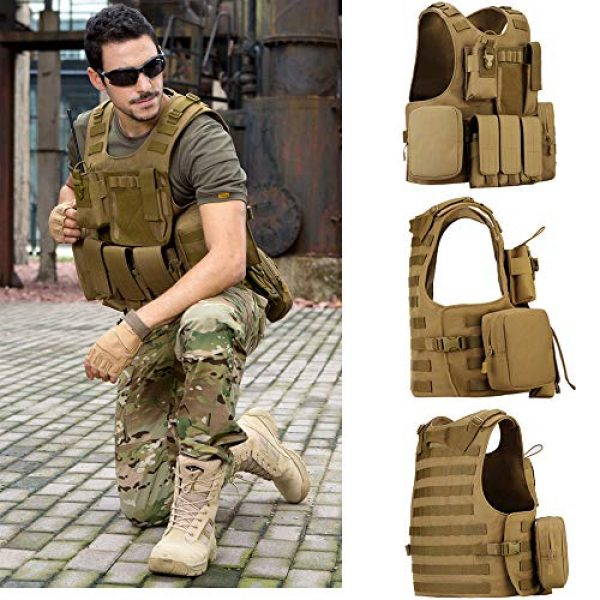outdoor plus Airsoft Tactical Vest 2 Tactical Molle Vest Light-Weight Breathable Black Airsoft Vest with Adjustable Pouches for Adult and Youth