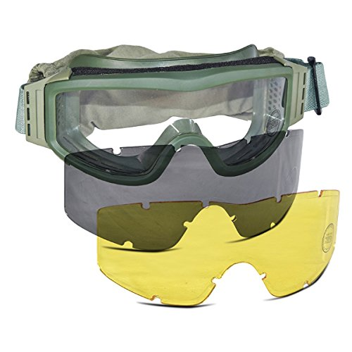 Lancer Tactical Airsoft Goggle 1 Lancer Tactical CA-203G Safety Airsoft Goggles w/Interchangeable Multi Lens Kit (OD Green)