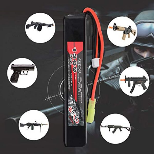 GOLDBAT Airsoft Battery 4 GOLDBAT 1300mAh 3S 11.1V 25C LiPo Battery Short Stick Battery Pack with Mini Tamiya Connector for Airsoft