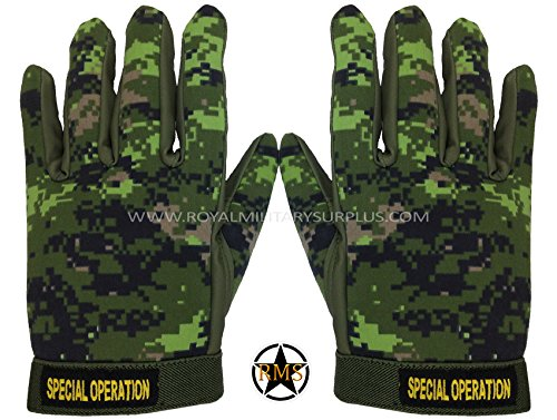 Royal Military Surplus Airsoft Glove 1 Tactical Gloves - Canada Army Digital Camouflage - Commando Assault/Airsoft & Paintball Gear - CADPAT (Temperate Woodland)