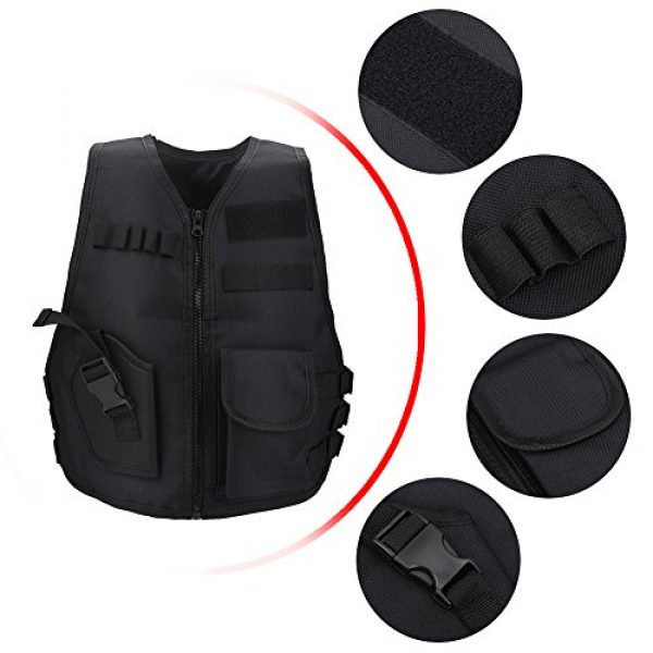 Wbestexercises Airsoft Tactical Vest 3 Wbestexercises Kids Tactical Molle Vest Adjustable Combat Vest Jacket Breathable Children Protective Waistcoat for Outdoor Hunting Combat Games S, L