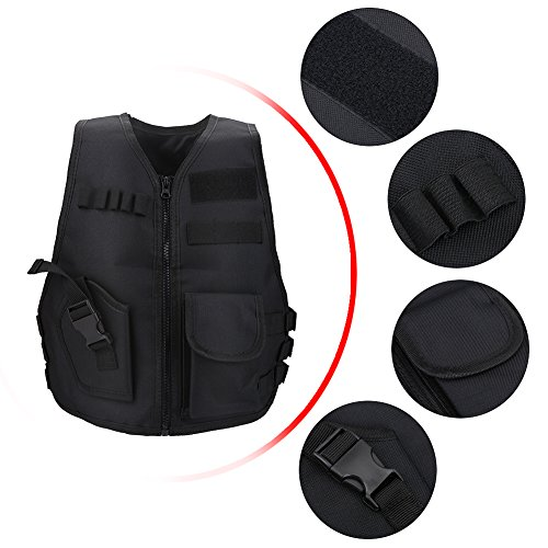 Vbestlife Airsoft Tactical Vest 2 Children Tactical Vest Black Children Kids Security Guard Waistcoat Cs Field Combat Training Military Army Tactical Vest Oxford Boys Costumes Games Protective Jacket Vest