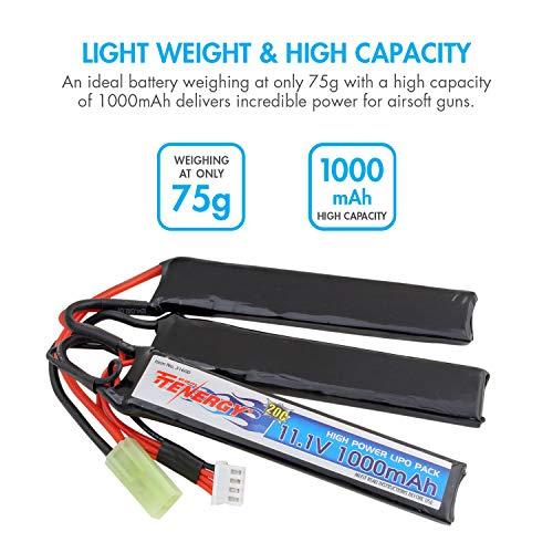 Tenergy Airsoft Battery 4 Tenergy Airsoft Battery 11.1V 1000mAh 20C High Discharge Rate LiPo Battery Pack Split Type Crane Stock Battery Pack with Mini Tamiya Connector + 1-4 Cells LiPo/Life Balance Charger for Airsoft Guns