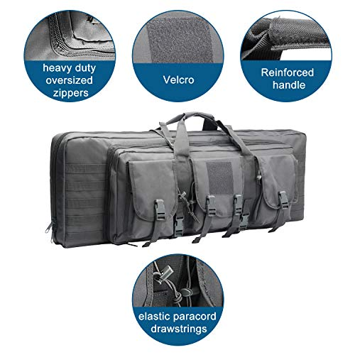 Warriors Product Rifle Case 2 Warriors Product 38 42 Inch Double Long Rifle Gun Case Bag Outdoor Tactical Carbine Cases Water Dust Resistant Fireproof for Hunting Shooting