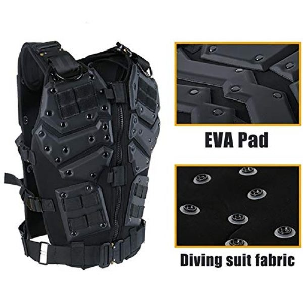 Shefure Airsoft Tactical Vest 4 Shefure Airsoft Tactical Vest Black Swat Body Armor Hunting CS Wargame Paintball Vest Waistcoat with 5.56 Magazine Pouches