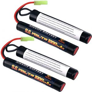 melasta Airsoft Battery 1 melasta 2 Pack 2/3A 9.6v 1600mAh Butterfly Nunchuck NIMH Battery Pack with Mini Tamiya Connector for Airsoft Guns M4