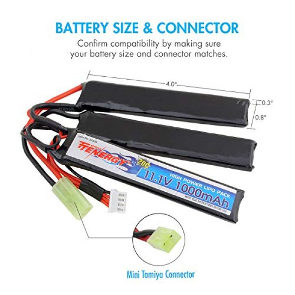 Tenergy Airsoft Battery 5 Tenergy Airsoft Battery 11.1V 1000mAh 20C High Discharge Rate LiPo Battery Pack Split Type Crane Stock Battery Pack with Mini Tamiya Connector + 1-4 Cells LiPo/Life Balance Charger for Airsoft Guns
