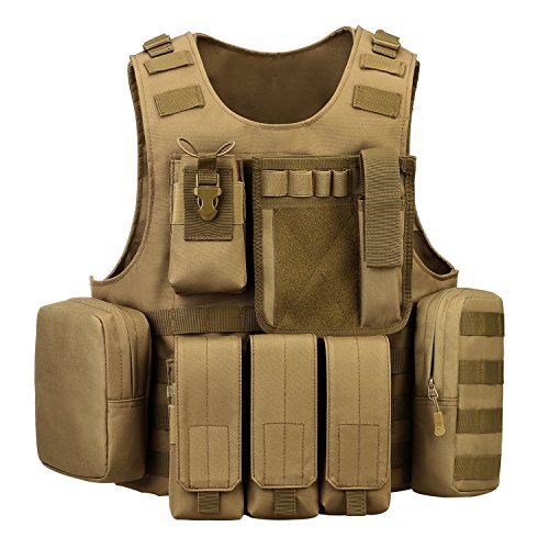 ArcEnCiel Airsoft Tactical Vest 1 ArcEnCiel Tactical Molle Vest, Coyote Brown