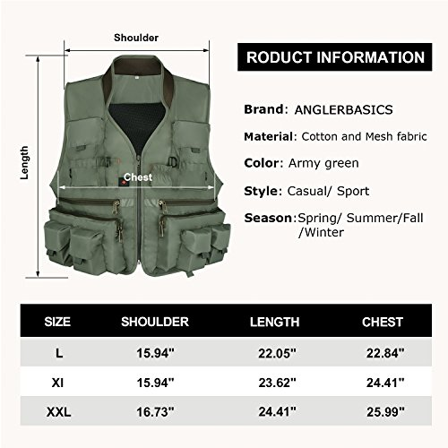 Anglerbasics  5 Anglerbasics Army Green Multifunction Airsoft Tactical Vest Quick Dry Multi Pockets Mesh Breathable Active Military wear Jacket- Fits for All Outdoor Sports
