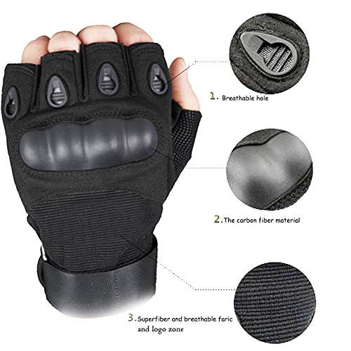 K-mover Airsoft Glove 5 K-mover Outdoors Camping Half Finger Gloves Tactical Fingerless Tactical Gloves Durable Hard Knuckle Cycling Motorcycle Gloves for Shooting Hunting Motorcycling Climbing