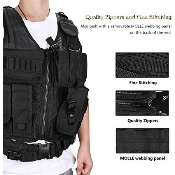 THSKSM Airsoft Tactical Vest 6 THSKSM Tactical Vest Airsoft Paintball Breathable Combat Training Vest for Outdoor Hunting, Fishing, CS War Game,Outdoor Equipment/Adjustable Sizes/Men/Women/600D Assault Gear