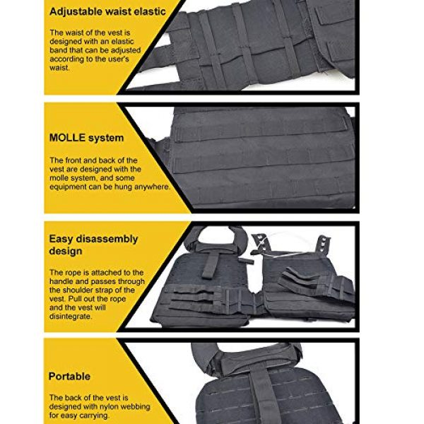 ActionUnion Airsoft Tactical Vest 6 ActionUnion Tactical Vest Molle CS Field Vests Outdoor Adjustable Lightweight Breathable Airsoft Paintball Hunting Shooting Adults 900D Oxford