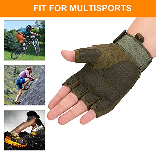 Huade Airsoft Glove 5 Tactical Military Rubber Hard Knuckle Outdoor Fingerless Gloves for Camping Cycling Motorcycle Hiking Powersports Airsoft Paintball