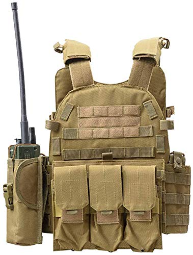DMAIP  1 DMAIP Hunting Molle Tactical Vest Combat Security Training Tool Pouch Modoular Protective Durable Waistcoat for Outdoor Paintball CS Game Airsoft Climbing Hiking