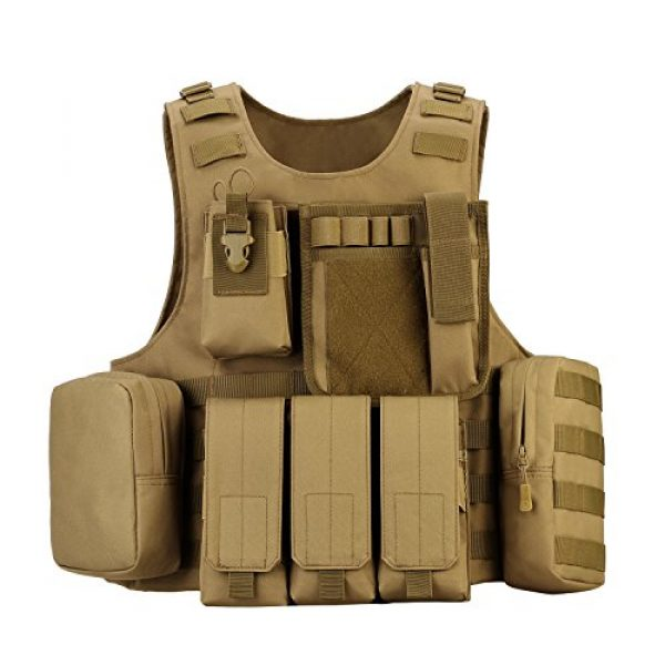 outdoor plus Airsoft Tactical Vest 1 Tactical Molle Vest Light-Weight Breathable Black Airsoft Vest with Adjustable Pouches for Adult and Youth