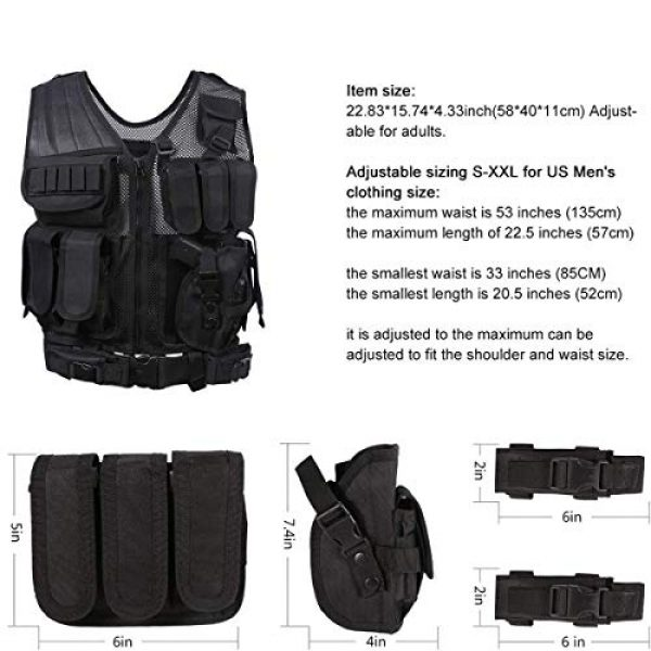 THSKSM Airsoft Tactical Vest 5 THSKSM Tactical Vest Airsoft Paintball Breathable Combat Training Vest for Outdoor Hunting, Fishing, CS War Game,Outdoor Equipment/Adjustable Sizes/Men/Women/600D Assault Gear