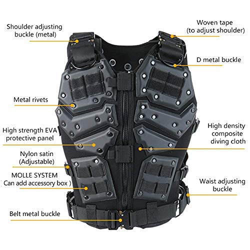 ActionUnion  3 ActionUnion Airsoft Tactical Vest Military Costume Molle Chest Protectors Gilet Paintball Vest CS Field Outdoor Modular Combat Training Adults Men Special Forces Adjustable EVA