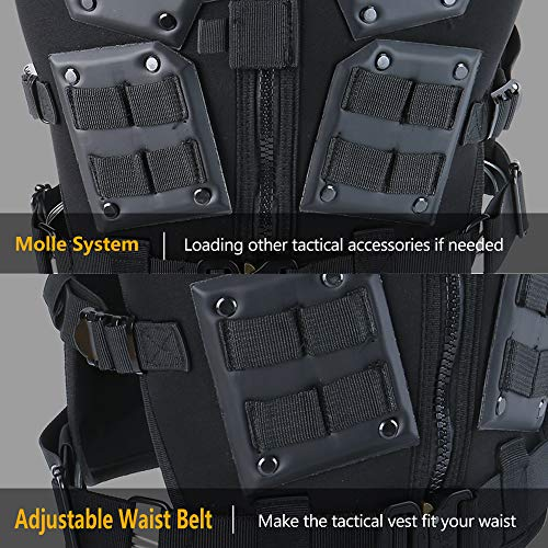 iactionunion Airsoft Tactical Vest 6 Upgrade Tactical Vest for Men with 2pcs 5.56 Fast Mag Pouch Adjustable Airsoft Paintball Vest Combat Vest Tactical Molle Vest CS Shooting Wargame Outdoor Training