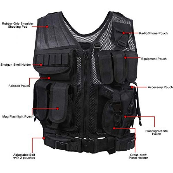 THSKSM Airsoft Tactical Vest 2 THSKSM Tactical Vest Airsoft Paintball Breathable Combat Training Vest for Outdoor Hunting, Fishing, CS War Game,Outdoor Equipment/Adjustable Sizes/Men/Women/600D Assault Gear