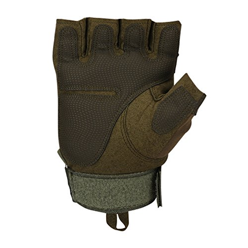 Huade Airsoft Glove 7 Tactical Military Rubber Hard Knuckle Outdoor Fingerless Gloves for Camping Cycling Motorcycle Hiking Powersports Airsoft Paintball