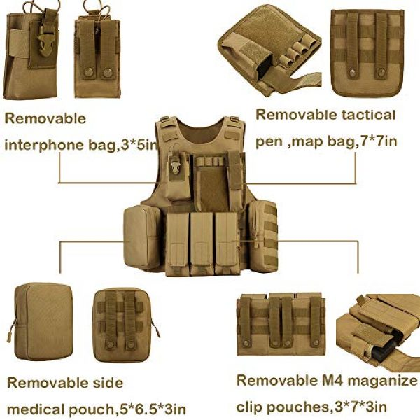 outdoor plus Airsoft Tactical Vest 3 Tactical Molle Vest Light-Weight Breathable Black Airsoft Vest with Adjustable Pouches for Adult and Youth