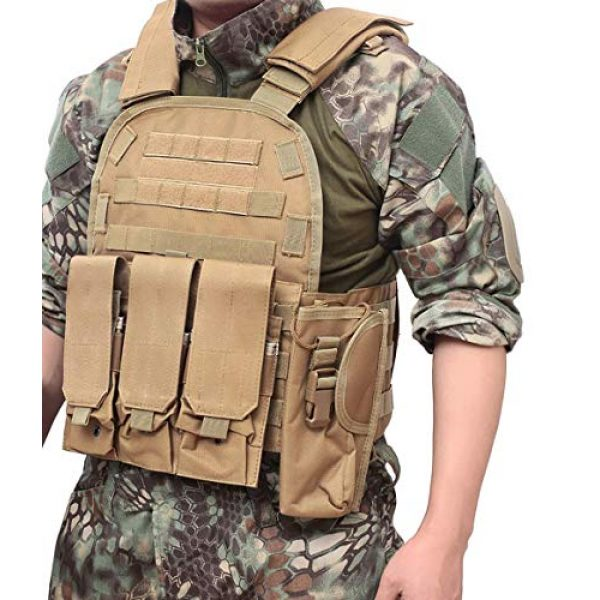 DMAIP Airsoft Tactical Vest 6 DMAIP Hunting Molle Tactical Vest Combat Security Training Tool Pouch Modoular Protective Durable Waistcoat for Outdoor Paintball CS Game Airsoft Climbing Hiking