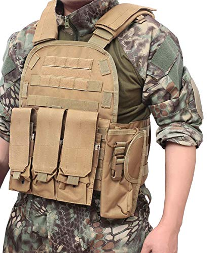 DMAIP  6 DMAIP Hunting Molle Tactical Vest Combat Security Training Tool Pouch Modoular Protective Durable Waistcoat for Outdoor Paintball CS Game Airsoft Climbing Hiking