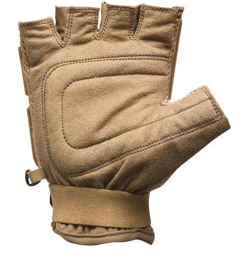 Valken Airsoft Glove 2 Valken Paintball V-Tac Half Finger Plastic Backed Gloves - Tan - XL/2XL