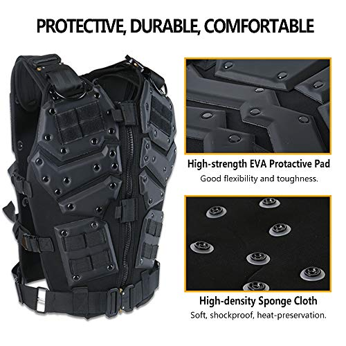 iactionunion Airsoft Tactical Vest 4 Upgrade Tactical Vest for Men with 2pcs 5.56 Fast Mag Pouch Adjustable Airsoft Paintball Vest Combat Vest Tactical Molle Vest CS Shooting Wargame Outdoor Training