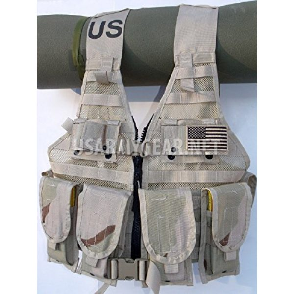 Specialty Defense Systems / Michael Bianco Airsoft Tactical Vest 4 New Made in USA Army Military MOLLE II Camouflage Desert Tan Airsoft MOLLE II Fighting Loaded Carrier Vest FLC LBV with 4 Double Pouch and 2 K-Bar Adapter Issued by the U.S. Government GI
