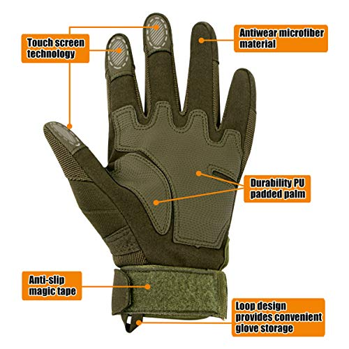 IronSeals Airsoft Glove 4 IronSeals Gloves Rubber Hard Knuckle Outdoor Gloves Full Finger and Half Finger Cycling Motorcycle Gloves