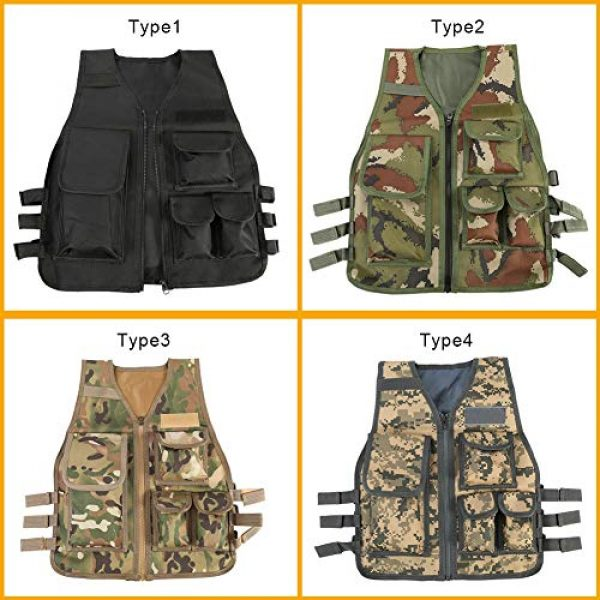 Duevin Airsoft Tactical Vest 3 Duevin Children Tactical Vest, Body Armor Camouflage Combat Training Protective for CS Field Game Molle Outdoor Sports (8-14 Age Kids)