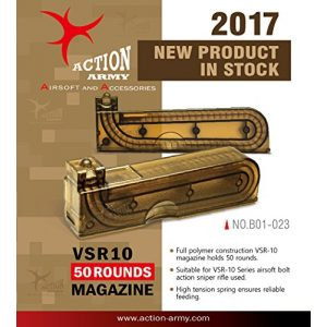 Action Army Airsoft Gun Magazine 1 Action Army B01-023 VSR10 50 Rounds Magazine for Tokyo Marui VSR-10 Well MB02 MB03 Airsoft Gun Made in Taiwan