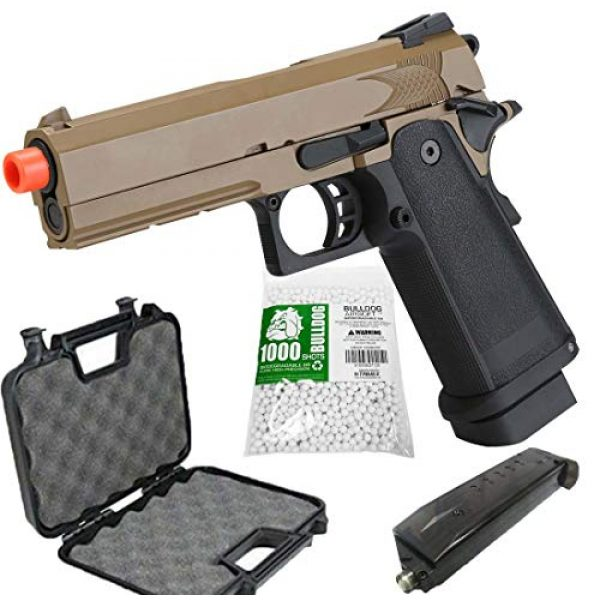 BULLDOG AIRSOFT Airsoft Pistol 1 Airsoft HI-CAPA 4.3 Desert Green Gas Pistol with Free Speed Loader BBS and Gun Case [Airsoft Blowback]