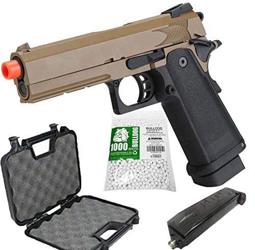 BULLDOG AIRSOFT Airsoft Pistol 1 Airsoft HI-CAPA 4.3 Desert CO2 Pistol with Free Speed Loader BBS and Gun Case [Airsoft Blowback]
