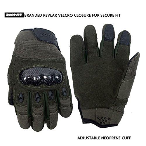 Zephyr Tactical Airsoft Glove 1 Zephyr Tactical Full Finger Carbon Fiber Knuckle Gloves w/Touchscreen Technology